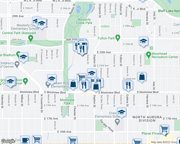 map of restaurants, bars, coffee shops, grocery stores, and more near 2201 Dayton St in Aurora