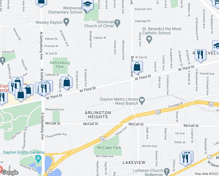 map of restaurants, bars, coffee shops, grocery stores, and more near 29 Upper Avenue in Dayton
