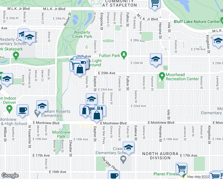 map of restaurants, bars, coffee shops, grocery stores, and more near E 23rd Ave & Elmira St in Aurora