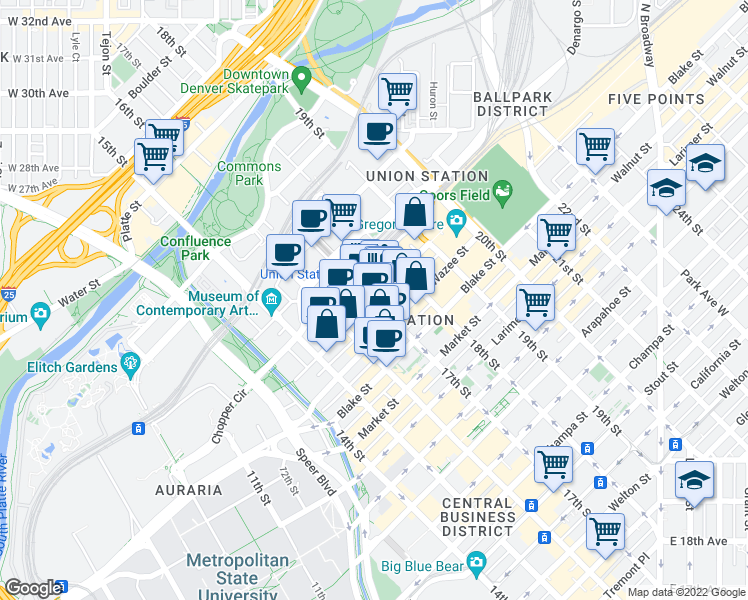 map of restaurants, bars, coffee shops, grocery stores, and more near 17th St & Wynkoop St in Denver