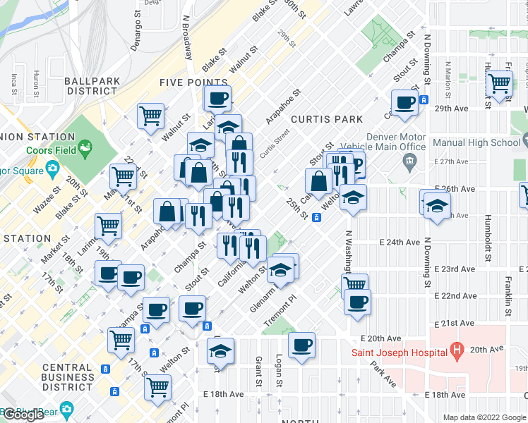 map of restaurants, bars, coffee shops, grocery stores, and more near 2300-2398 Stout Street in Denver
