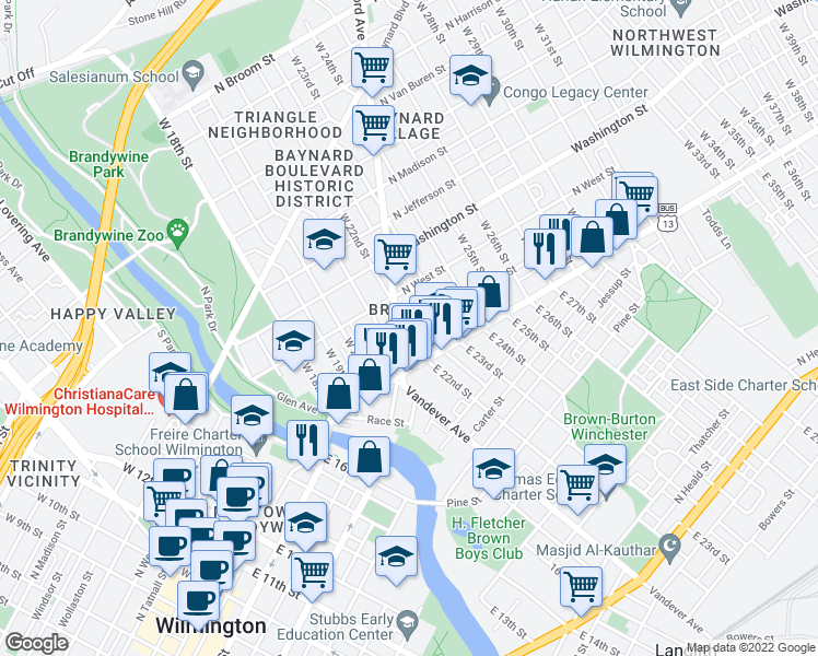 map of restaurants, bars, coffee shops, grocery stores, and more near 2201 North Market Street in Wilmington