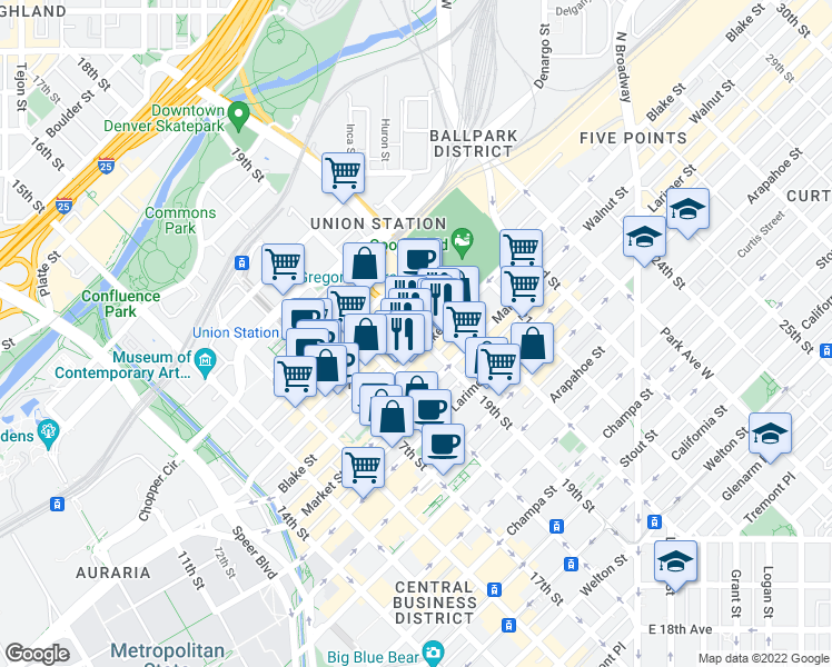 map of restaurants, bars, coffee shops, grocery stores, and more near 19th Street in Denver