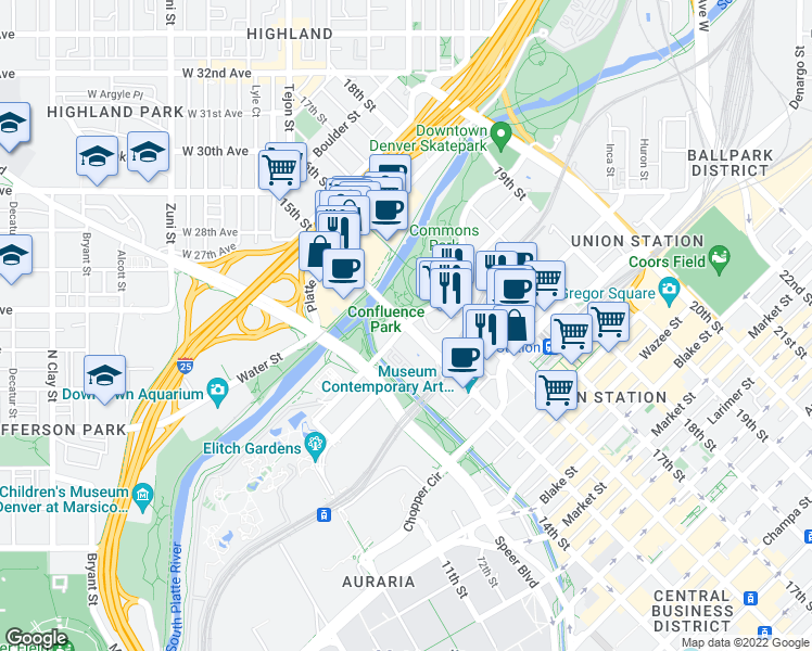 map of restaurants, bars, coffee shops, grocery stores, and more near 15th Street & Little Raven Street in Denver