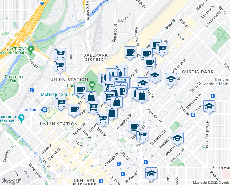 map of restaurants, bars, coffee shops, grocery stores, and more near 2215 Market St in Denver