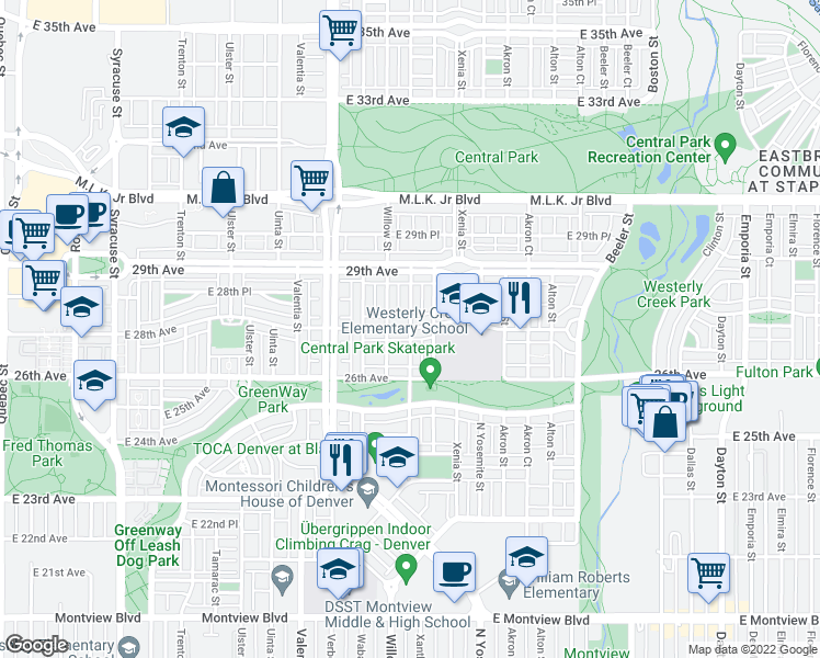 map of restaurants, bars, coffee shops, grocery stores, and more near 28th Avenue & Xanthia Street in Denver