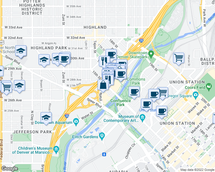 map of restaurants, bars, coffee shops, grocery stores, and more near 15th Street & Platte Street in Denver