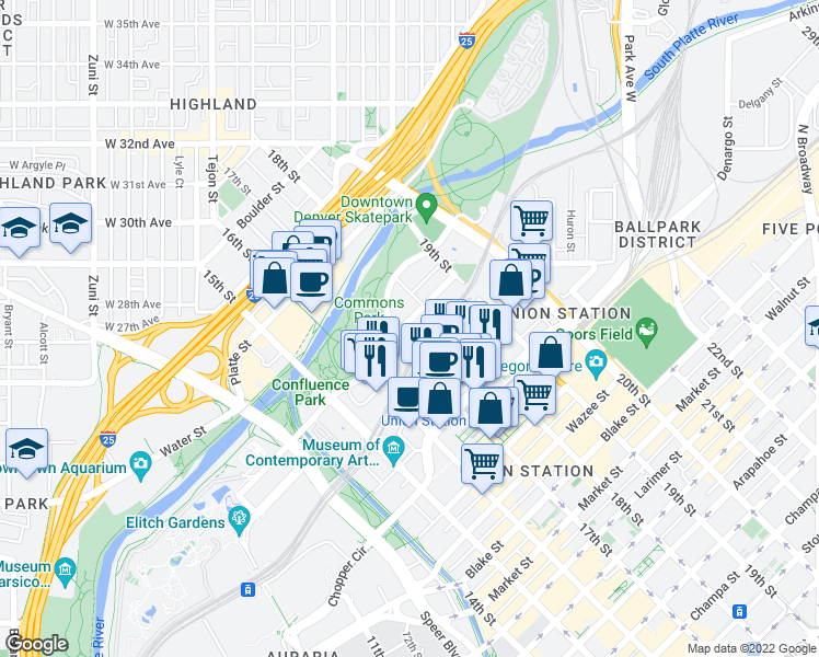 map of restaurants, bars, coffee shops, grocery stores, and more near 1700 Bassett Street in Denver