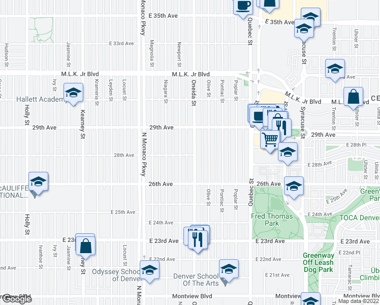 map of restaurants, bars, coffee shops, grocery stores, and more near 2801 Oneida Street in Denver
