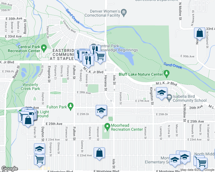 map of restaurants, bars, coffee shops, grocery stores, and more near 2842 Havana Street in Denver