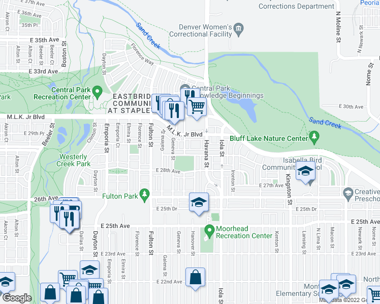 map of restaurants, bars, coffee shops, grocery stores, and more near 10361 E 28th Pl in Denver