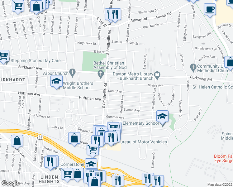 map of restaurants, bars, coffee shops, grocery stores, and more near 1646 Darst Ave in