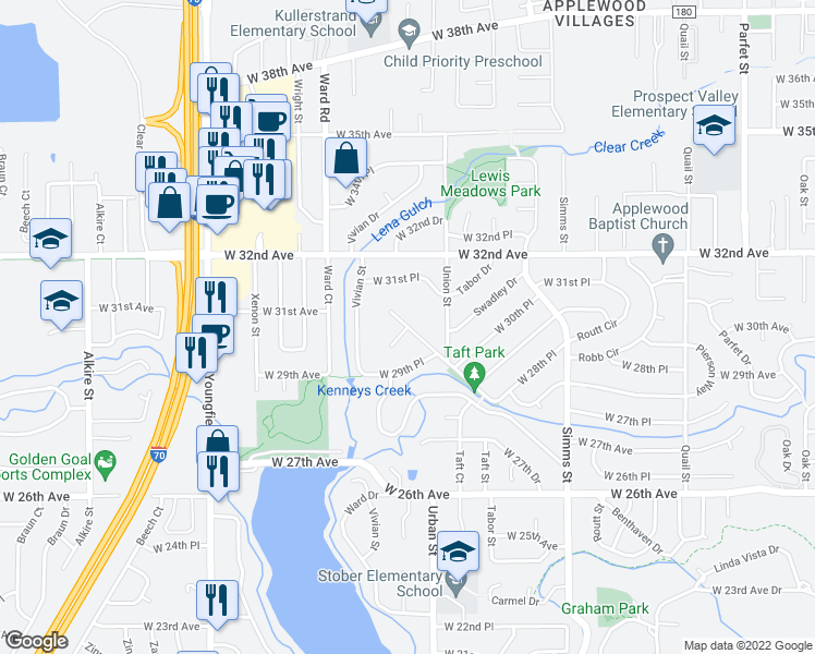 map of restaurants, bars, coffee shops, grocery stores, and more near Mountain Shadows Drive in Denver
