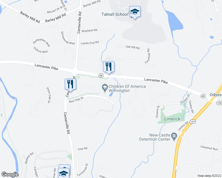 map of restaurants, bars, coffee shops, grocery stores, and more near 100 Little Falls Drive in Wilmington