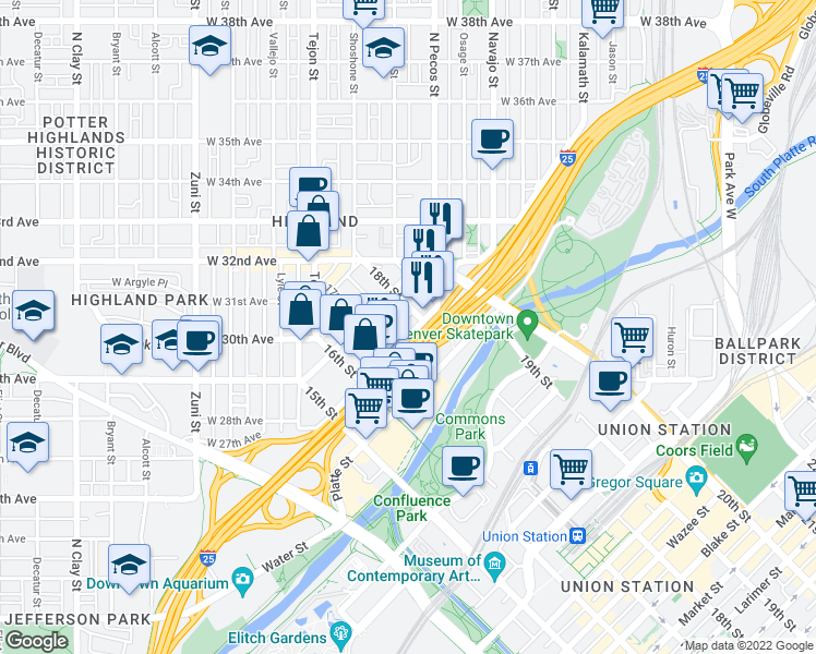 map of restaurants, bars, coffee shops, grocery stores, and more near 1755 Central Street in Denver