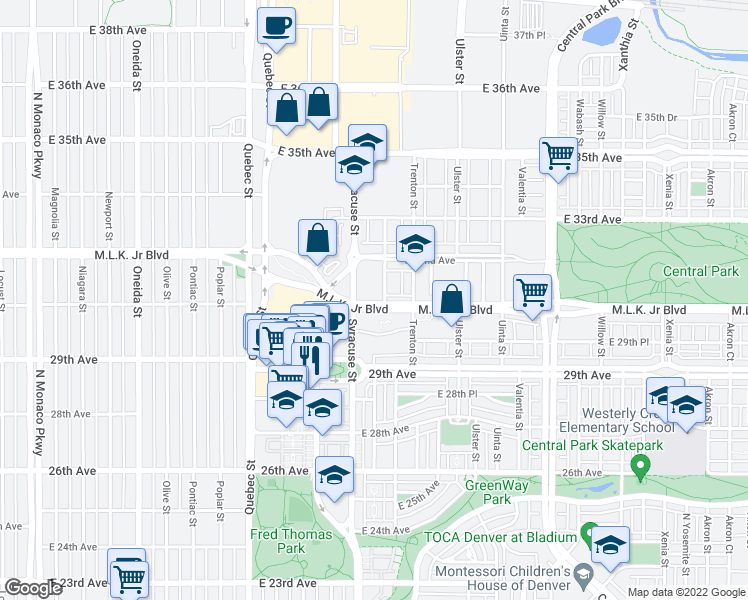 map of restaurants, bars, coffee shops, grocery stores, and more near 7779 Martin Luther King Junior Boulevard in Denver
