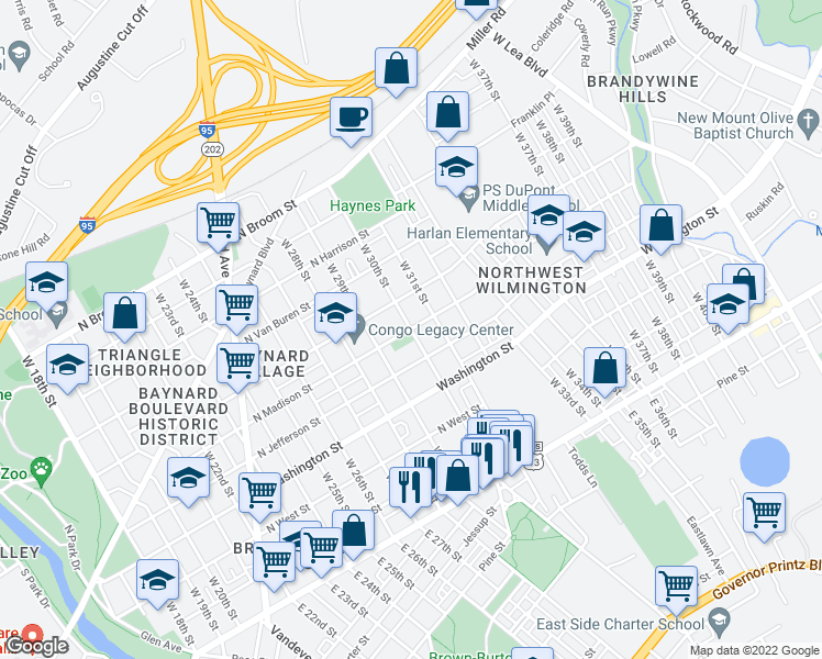 map of restaurants, bars, coffee shops, grocery stores, and more near North Madison Street in Wilmington