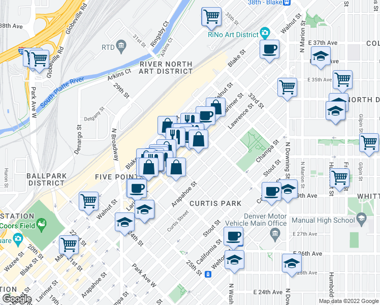 map of restaurants, bars, coffee shops, grocery stores, and more near 2862 Larimer Street in Denver
