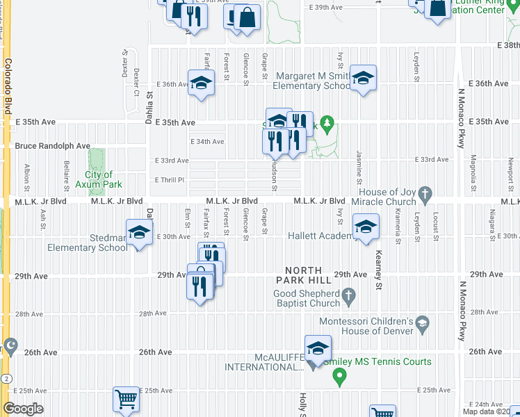 map of restaurants, bars, coffee shops, grocery stores, and more near 3071 Grape St in Denver