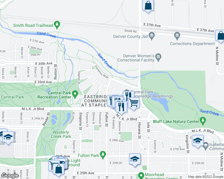 map of restaurants, bars, coffee shops, grocery stores, and more near 3193 Galena St in Denver
