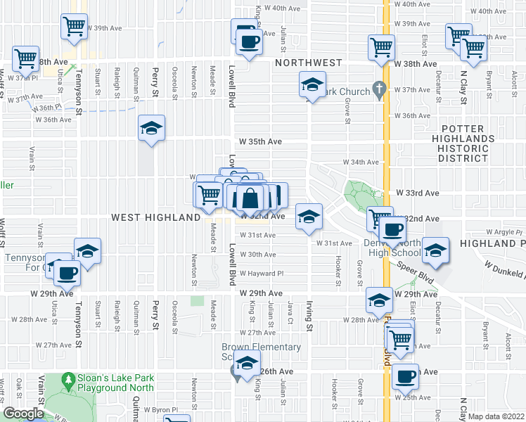 map of restaurants, bars, coffee shops, grocery stores, and more near 3426 W 32nd Ave in Denver