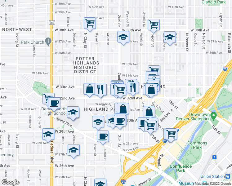 map of restaurants, bars, coffee shops, grocery stores, and more near 3225 Zuni St in Denver