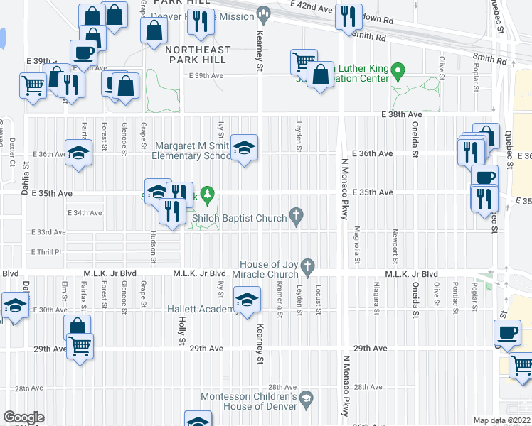 map of restaurants, bars, coffee shops, grocery stores, and more near 3340 Kearney Street in Denver