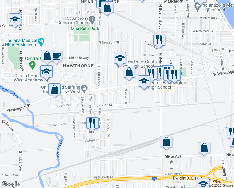 map of restaurants, bars, coffee shops, grocery stores, and more near West Maryland Street in Indianapolis