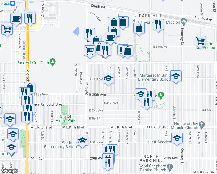 map of restaurants, bars, coffee shops, grocery stores, and more near 3550 Fairfax Street in Denver