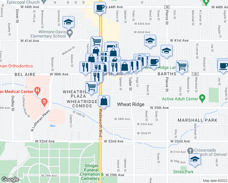 map of restaurants, bars, coffee shops, grocery stores, and more near 3728 Vance Street in Wheat Ridge