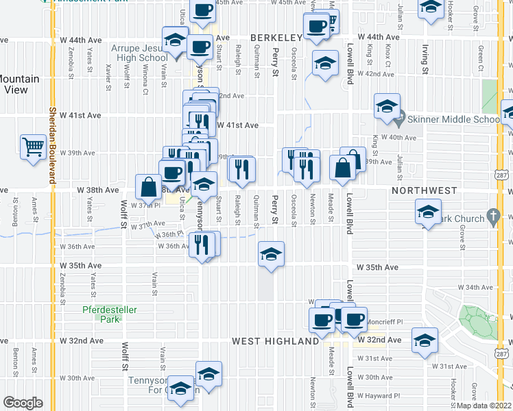 map of restaurants, bars, coffee shops, grocery stores, and more near 3717-3725 Quitman St in Denver
