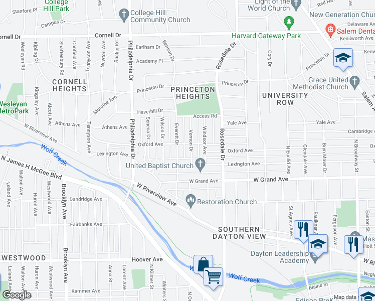map of restaurants, bars, coffee shops, grocery stores, and more near in Dayton