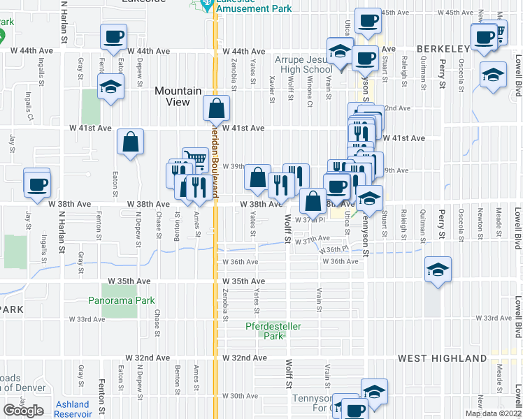 map of restaurants, bars, coffee shops, grocery stores, and more near 4948 W 38th Ave in Denver