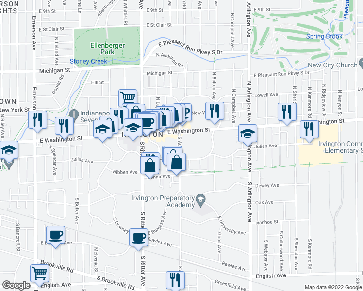 map of restaurants, bars, coffee shops, grocery stores, and more near 55 S Audubon Rd in Indianapolis