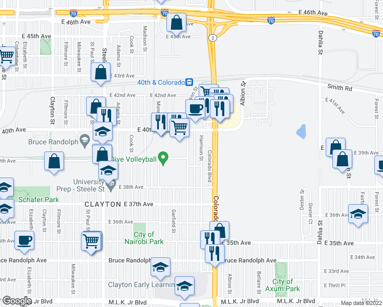 map of restaurants, bars, coffee shops, grocery stores, and more near 3920 Jackson Street in Denver