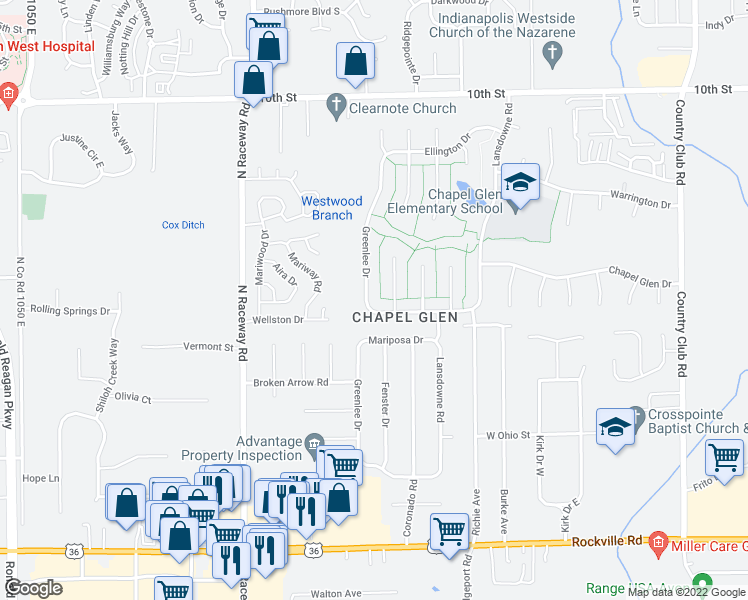 map of restaurants, bars, coffee shops, grocery stores, and more near 504 Greenlee Drive in Indianapolis