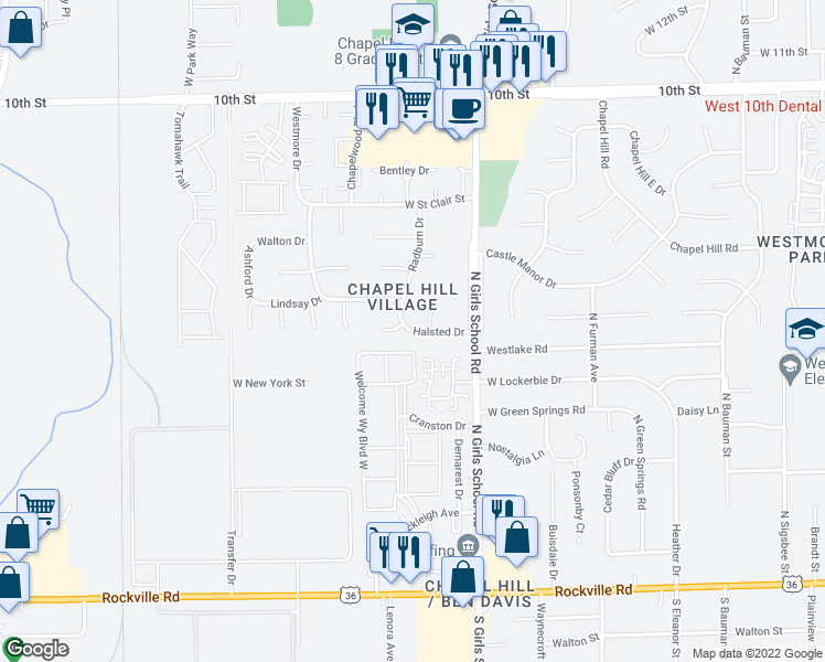 map of restaurants, bars, coffee shops, grocery stores, and more near 443 Radburn Drive in Indianapolis