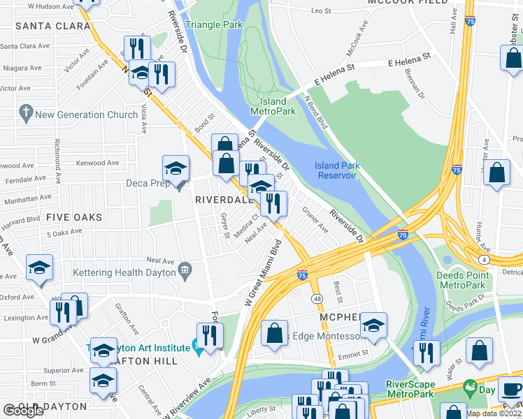 map of restaurants, bars, coffee shops, grocery stores, and more near 15 Neal Avenue in Dayton
