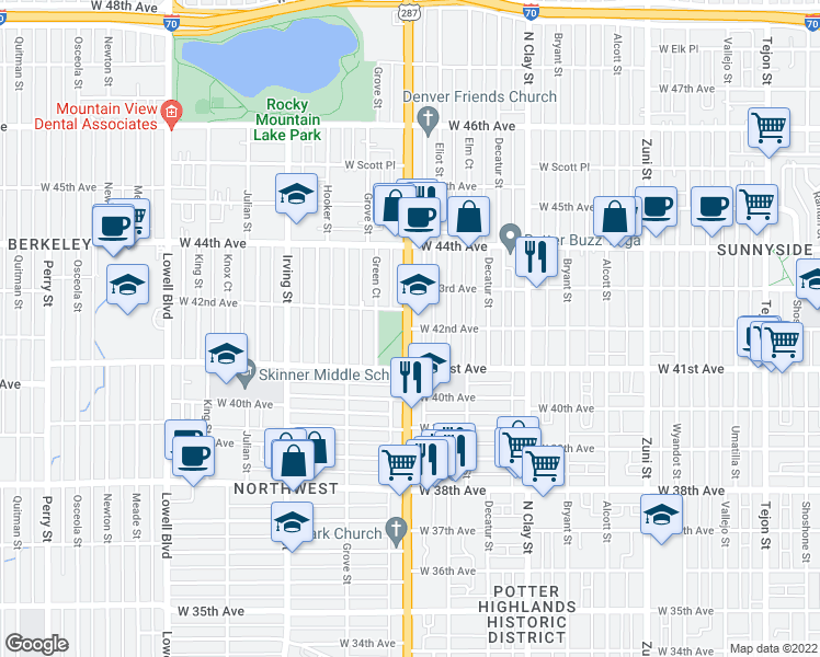 map of restaurants, bars, coffee shops, grocery stores, and more near 4123-4199 Federal Boulevard in Denver