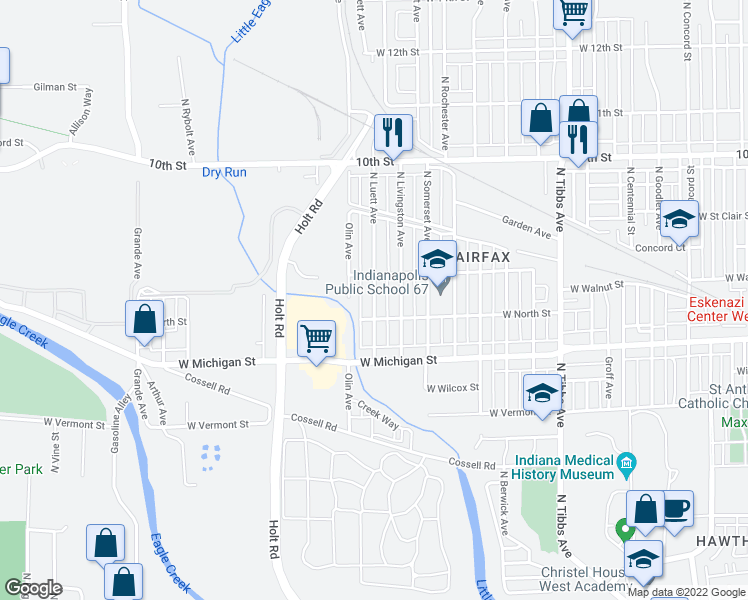 map of restaurants, bars, coffee shops, grocery stores, and more near 612 North Luett Avenue in Indianapolis