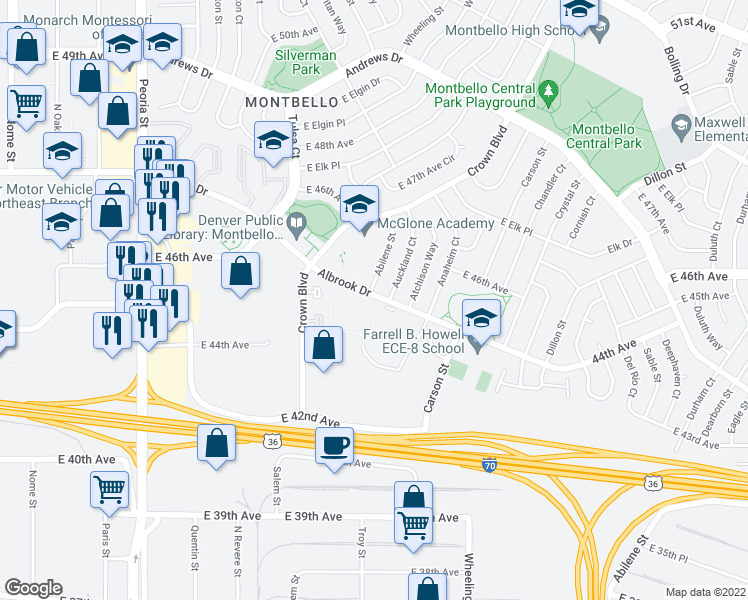 map of restaurants, bars, coffee shops, grocery stores, and more near 13500 Albrook Drive in Denver