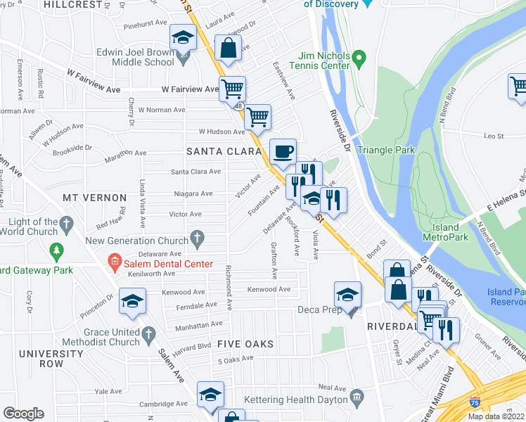 map of restaurants, bars, coffee shops, grocery stores, and more near 58 Fountain Avenue in Dayton
