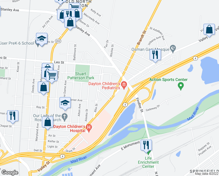 map of restaurants, bars, coffee shops, grocery stores, and more near 1042 Dodgson Court in Dayton