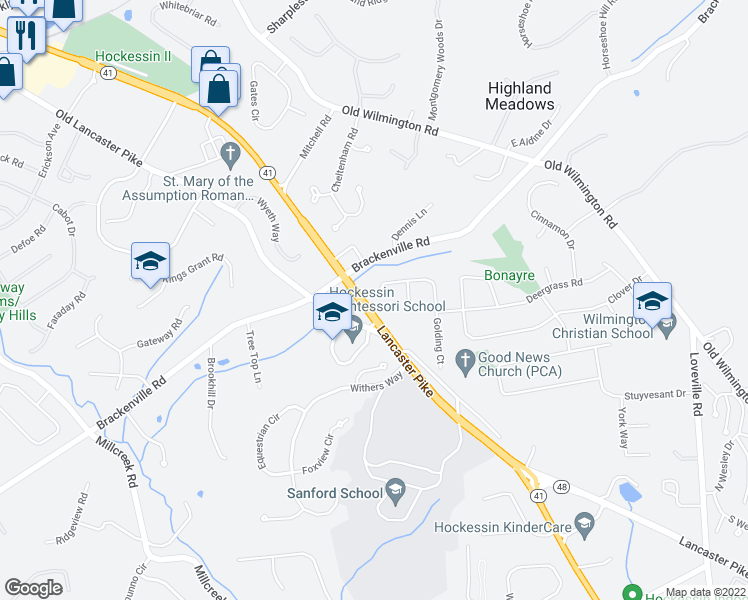 map of restaurants, bars, coffee shops, grocery stores, and more near 220-298 Hawkes Court in Hockessin