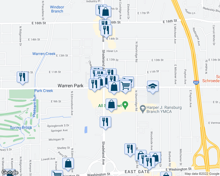 map of restaurants, bars, coffee shops, grocery stores, and more near 7031 East 10th Street in Indianapolis