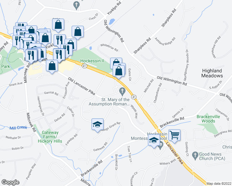 map of restaurants, bars, coffee shops, grocery stores, and more near 7200 Lancaster Pike in Hockessin
