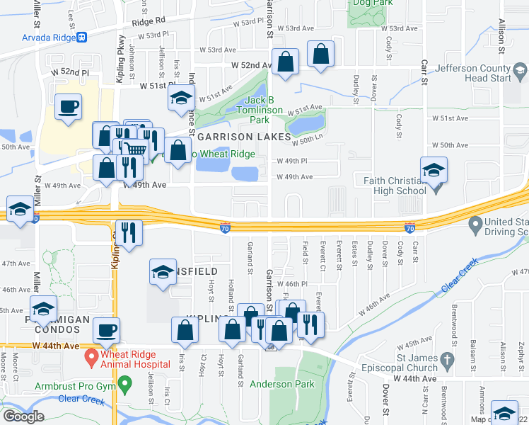 map of restaurants, bars, coffee shops, grocery stores, and more near 9235 West 48th Avenue in Wheat Ridge