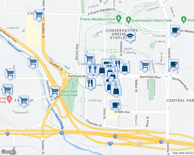 map of restaurants, bars, coffee shops, grocery stores, and more near 8102 Northfield Boulevard in Denver