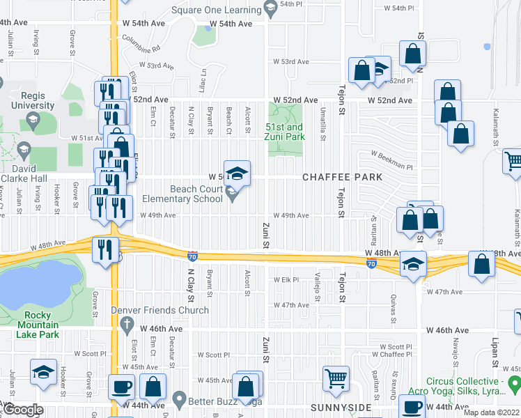map of restaurants, bars, coffee shops, grocery stores, and more near 4905 Zuni Street in Denver