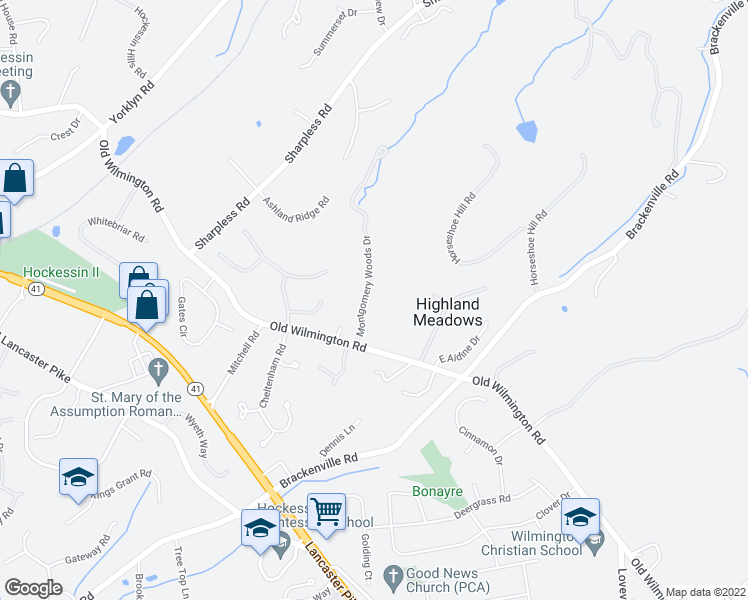 map of restaurants, bars, coffee shops, grocery stores, and more near 629 Montgomery Woods Dr in Hockessin